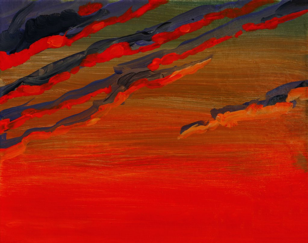 Stock Photo: 1474-276 Sky Portrait, Sunset, John Newcomb (21st C. American), Acrylic, 2007