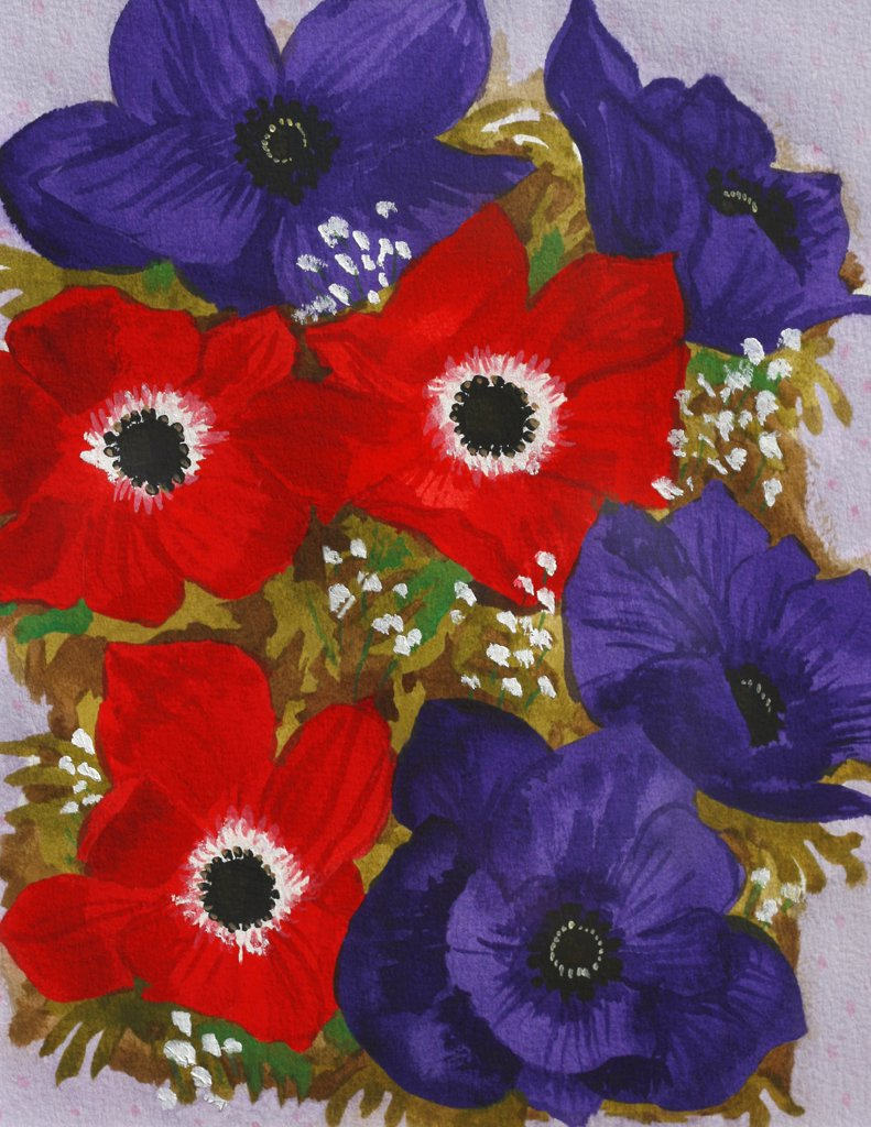Anemones, John Newcomb (21st C. American), Watercolor, 2002 : Stock Photo