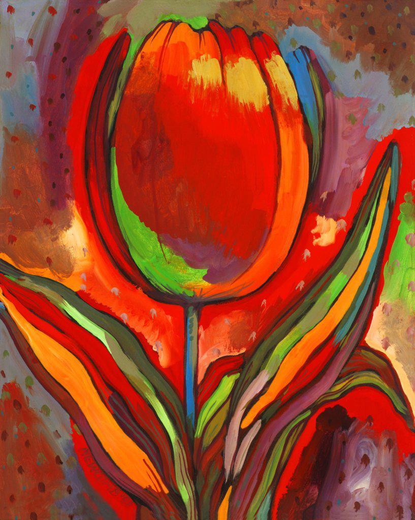 Stock Photo: 1474-283 Kandinsky's Prize Tulip, John Newcomb (21st C. American), Casein, 1991