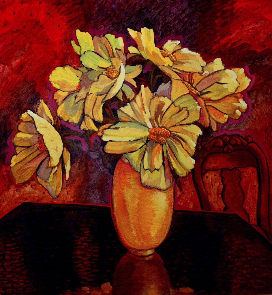 Peony Vase, John Newcomb (21st C. American), Casein, 1996 : Stock Photo