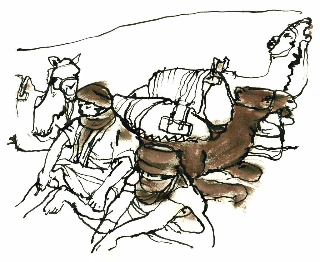 Stock Photo: 1474-319 Berbers, Morocco, John Newcomb (21st C. American), Ink drawing, 2002