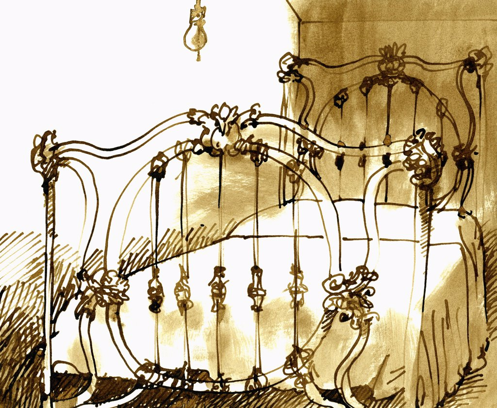 Grandma's Iron Bed, John Newcomb (21st C. American), Ink drawing, 1973 : Stock Photo