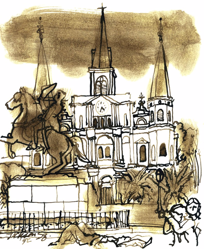 Jackson Square, New Orleans, John Newcomb (21st C. American), Ink drawing, 1998 : Stock Photo