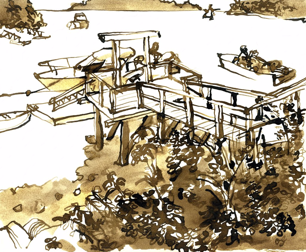 Stock Photo: 1474-336 Ocean Gate Pier, Maine  John Newcomb, Ink drawing, 1998