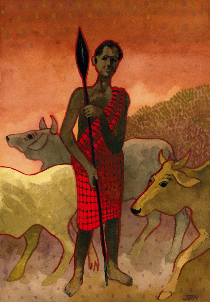 Stock Photo: 1474-354 Masai Herdsman, John Newcomb (21st C. American), Watercolor, 2008