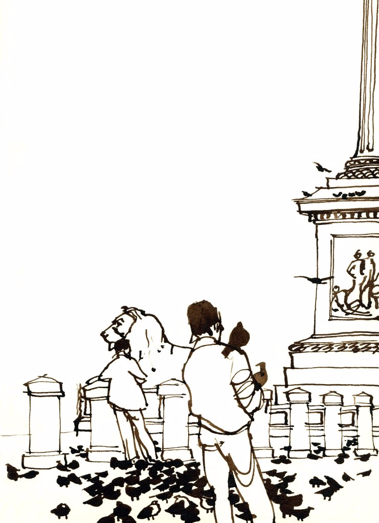 Stock Photo: 1474-360 Trafalgar Square Tourists, John Newcomb (21st C. American), Ink drawing, 1961