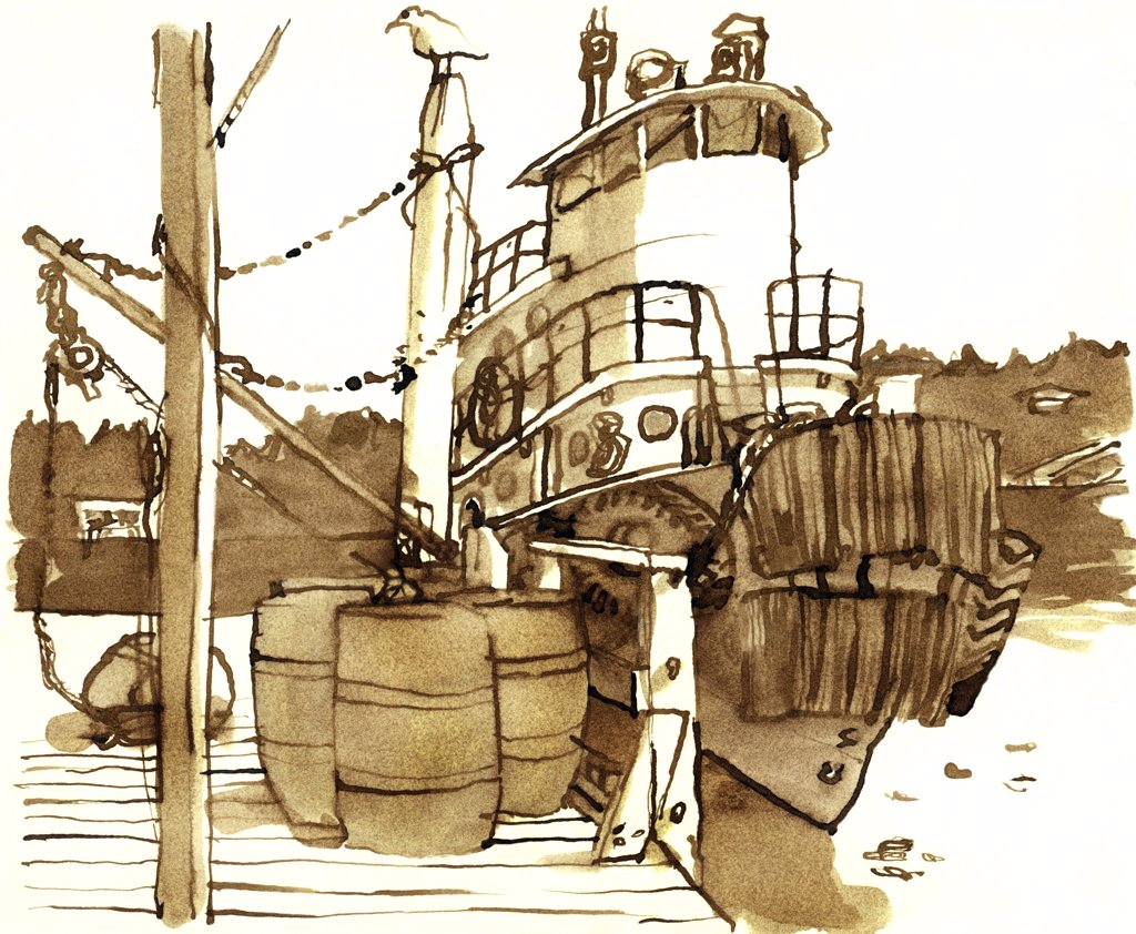 Stock Photo: 1474-370 The Gordon Winslow, Maine, John Newcomb (21st C. American), Ink drawing, 1975