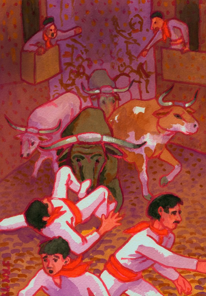 Stock Photo: 1474-464 Running of the Bulls in Pamplona, Spain, John Newcomb (21st C. American), Watercolor, 2012