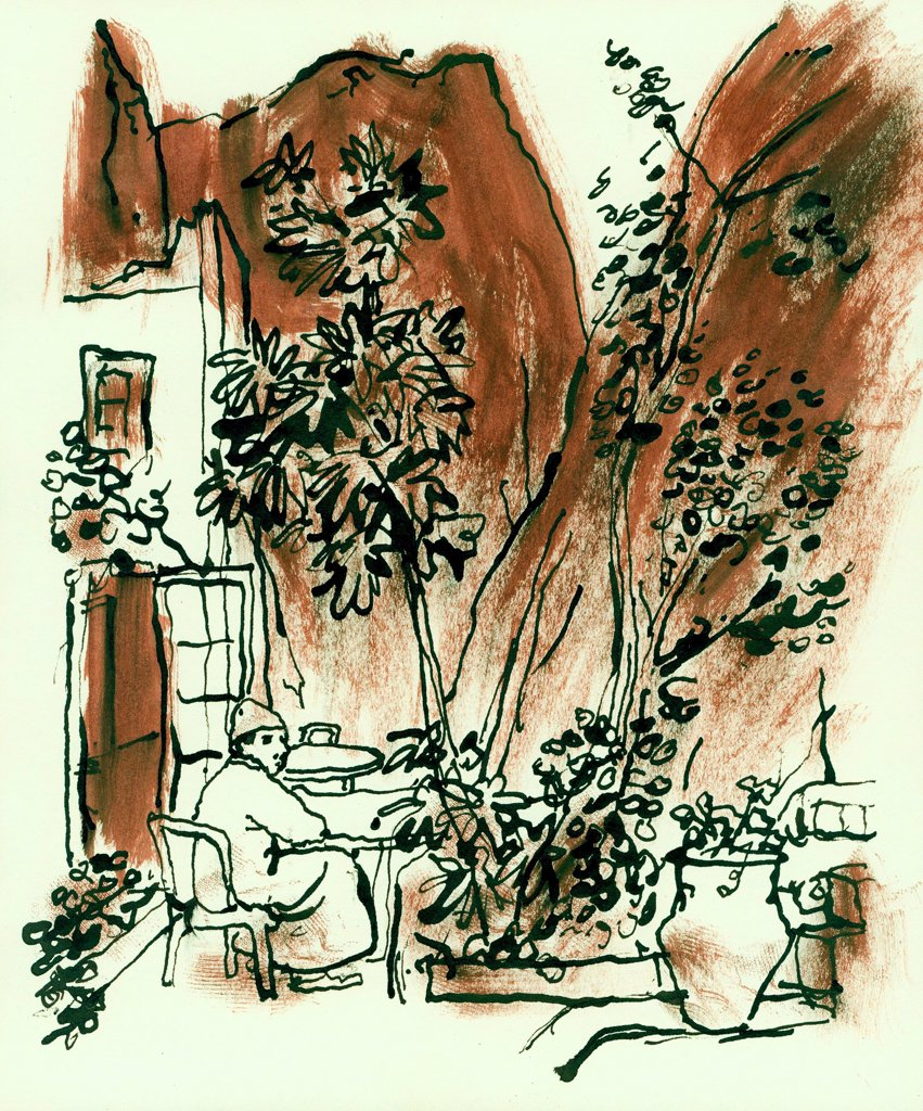 Stock Photo: 1474-472 George Tavern, Morocco  John Newcomb, Ink drawing, 1966