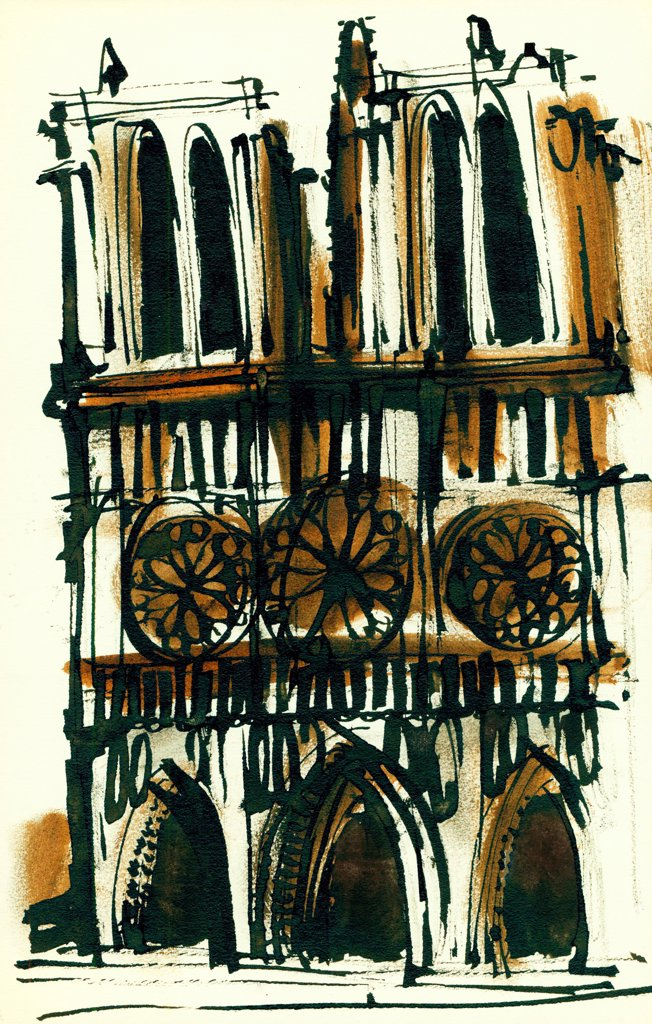 Stock Photo: 1474-481 Notre Dame de Paris  John Newcomb, Ink drawing, 1966