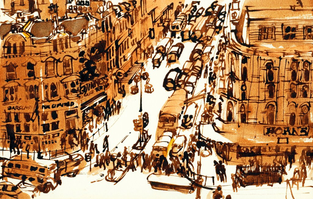 Stock Photo: 1474-483 Oxford Circus, London, by John Newcomb, 1961, ink drawing