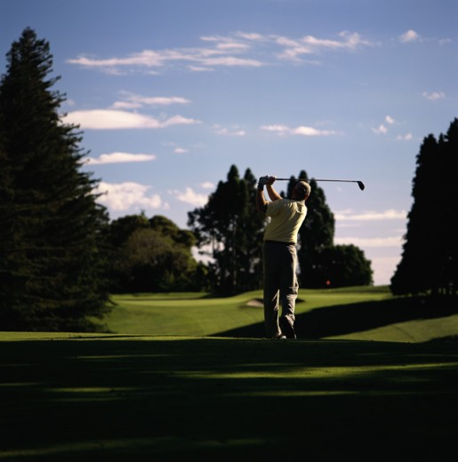 Rear view of a man playing golf : Stock Photo