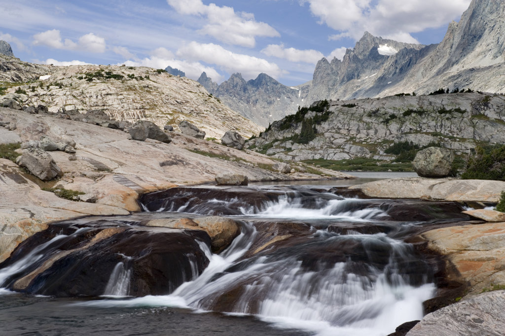 Stock Photo: 1482R-1255 Water flowing over rocks, Lower Titcomb Basin, Bridger-Teton National Forest, Wyoming, USA