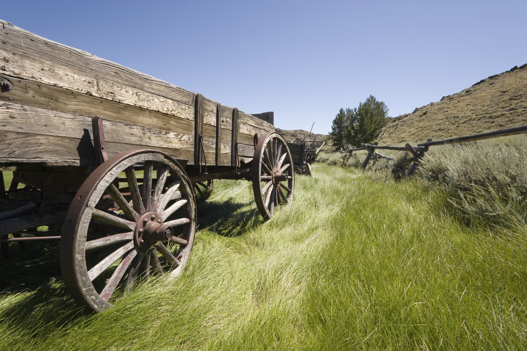Old horse cart in a field, South Pass City, Wyoming, USA : Stock Photo