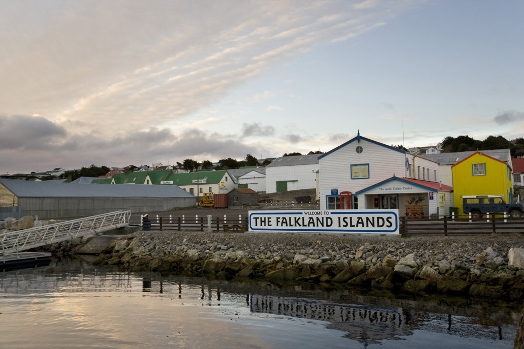 Welcome sign at the waterfront, Stanley, Falkland Islands, England : Stock Photo