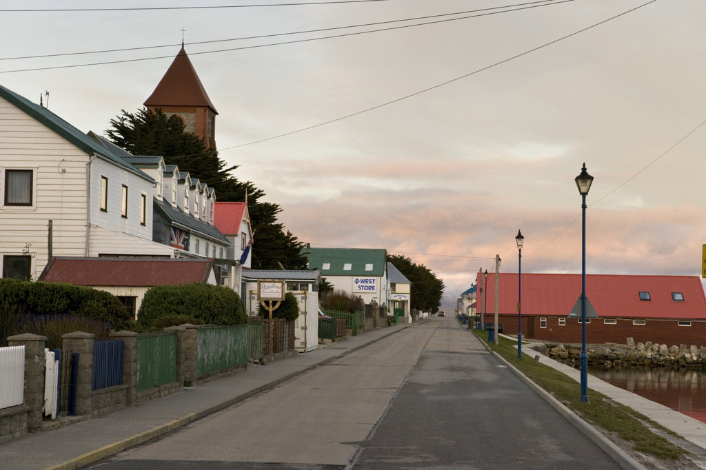 Houses along a road, Stanley, Falkland Islands, England : Stock Photo