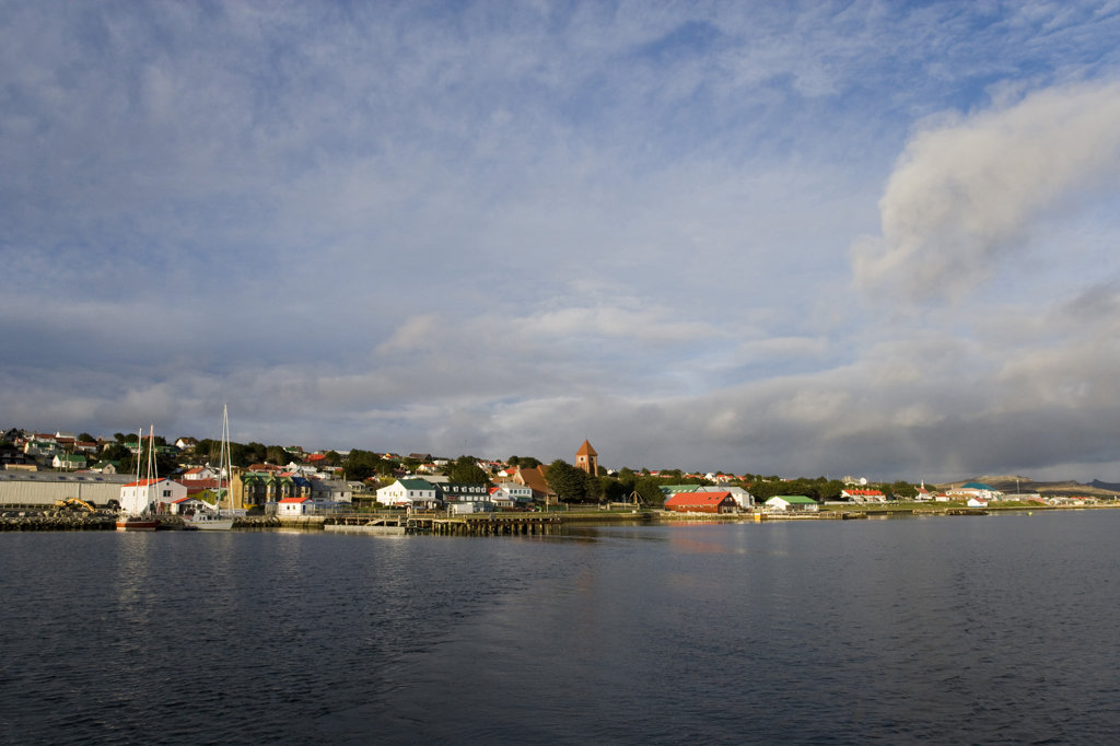 City at the waterfront, Stanley, Falkland Islands, England : Stock Photo