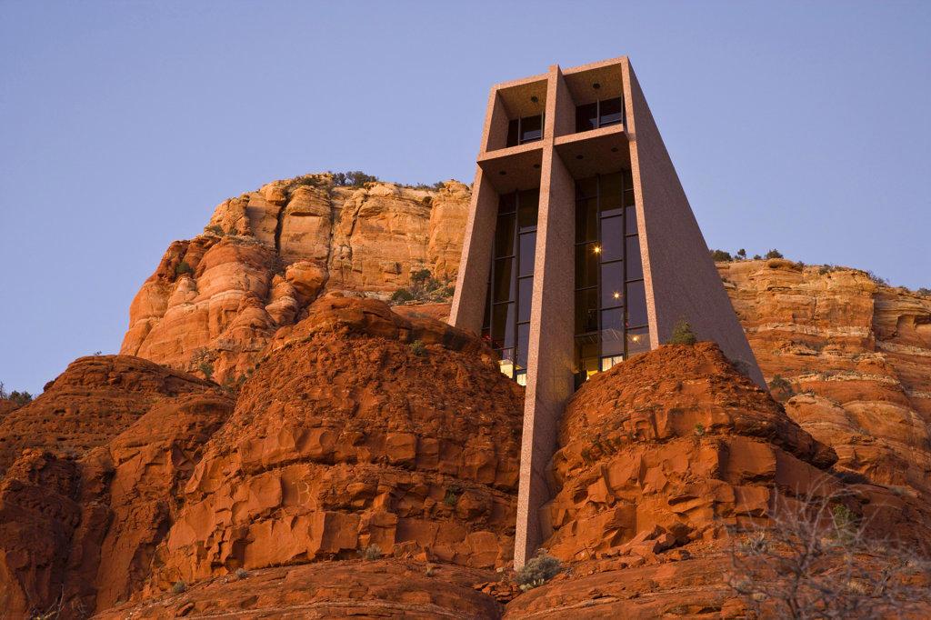 Stock Photo: 1482R-1327C Chapel on a rock formation, Chapel Of The Holy Cross, Sedona, Arizona, USA