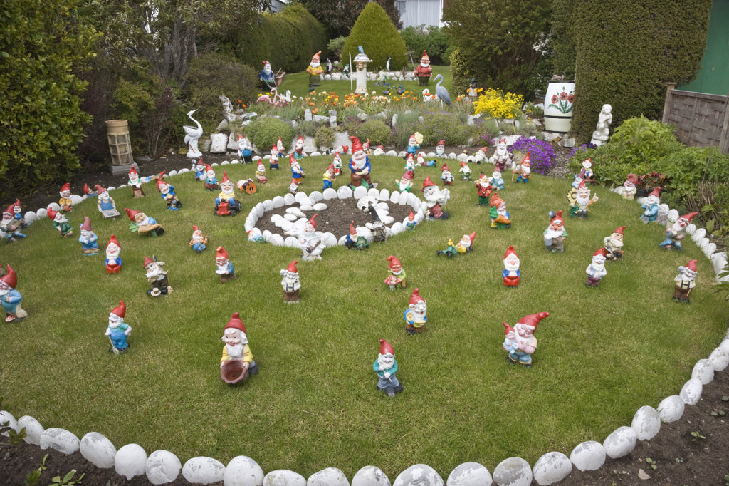 Stock Photo: 1482R-1333 High angle view of garden gnomes, Falkland Islands, Stanley, Idaho, USA