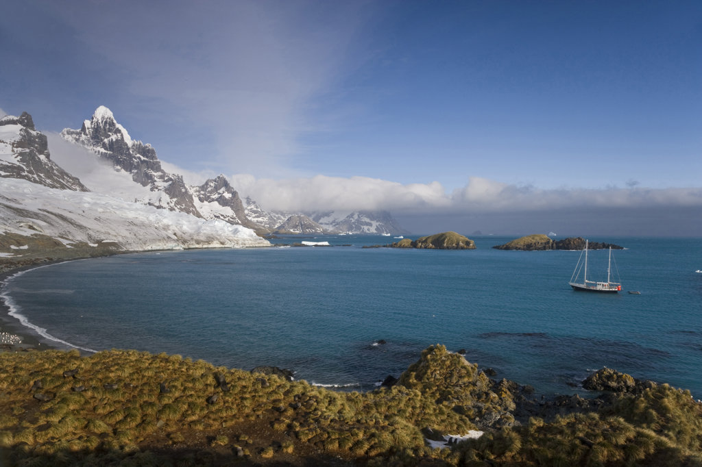 Stock Photo: 1482R-1467 Sailboat in the sea, Trollhul, South Georgia Island, South Sandwich Islands