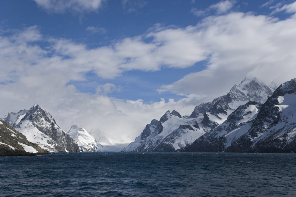 Panoramic view of mountains, Drygalski Fjord, South Georgia Island, South Sandwich Islands : Stock Photo