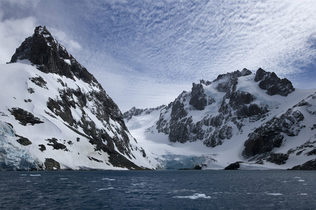 Stock Photo: 1482R-1512 Clouds over snow covered mountains, South Georgia Island, South Sandwich Islands