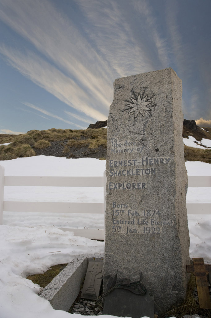 Stock Photo: 1482R-1605 Grave of Ernest Shackleton, Grytviken, South Georgia Island, South Sandwich Islands