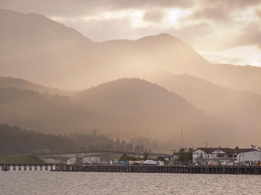 Bridge at sunset, Douglas Island, Juneau, Alaska, USA : Stock Photo