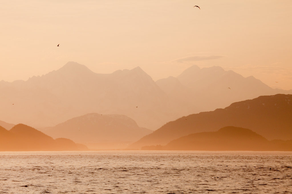 Stock Photo: 1482R-1899 Mountains at dusk, Cross Sound, Alaska, USA