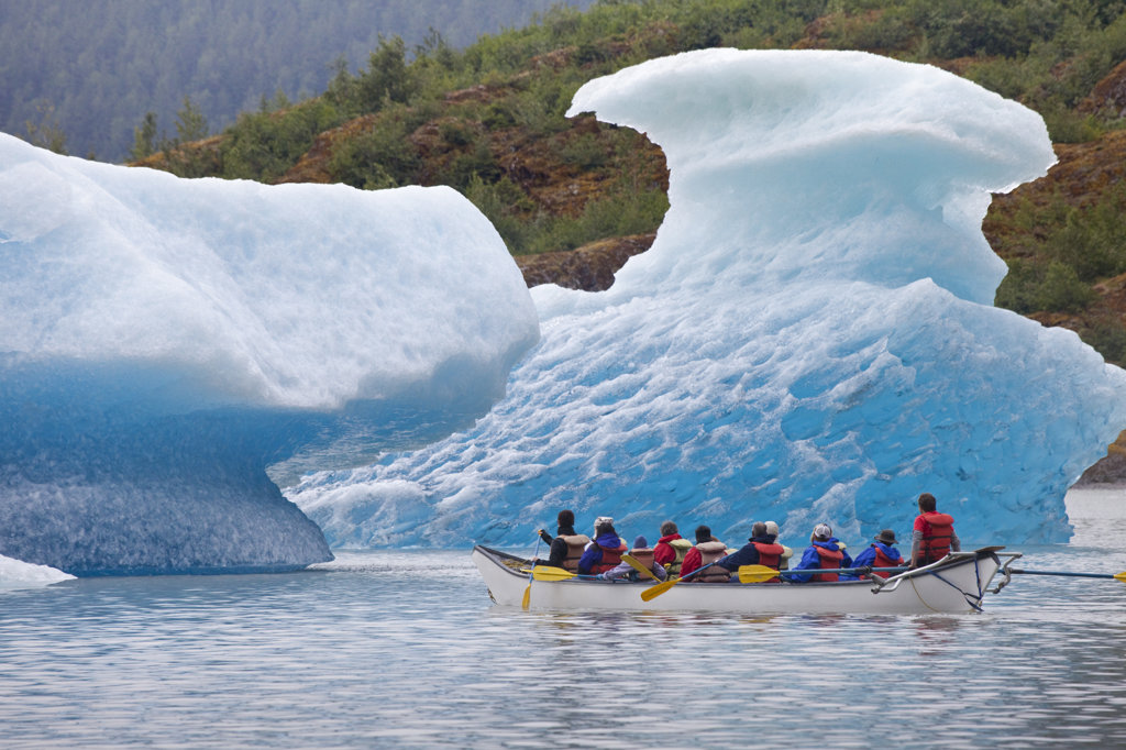Tourists rafting at a lake, Mendenhall Lake, Mendenhall Valley, Mendenhall Glacier, Juneau, Alaska, USA : Stock Photo