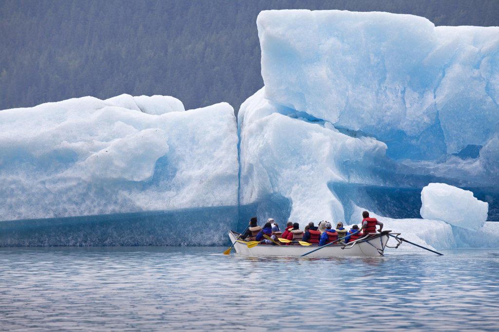 Stock Photo: 1482R-1929B Tourists rafting at a lake, Mendenhall Lake, Mendenhall Valley, Mendenhall Glacier, Juneau, Alaska, USA