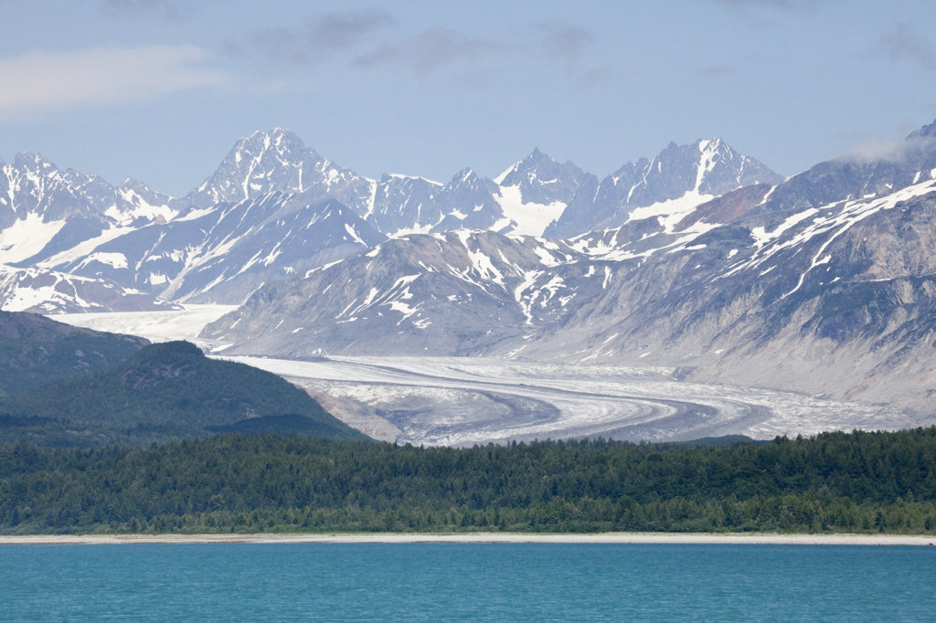 Glacier at the seaside, Fairweather Range, Glacier Bay National Park, Alaska, USA : Stock Photo