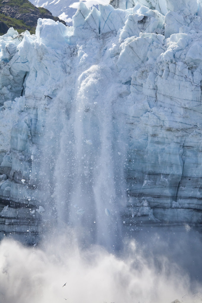 Icebergs calving with splash from the glacier, Margerie Glacier, Glacier Bay National Park, Alaska, USA : Stock Photo