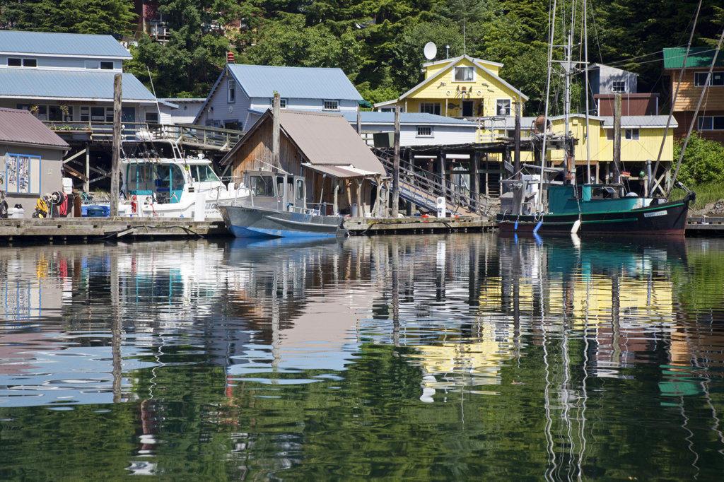 Fishing boats moored at a port, Elfin Cove, Alaska, USA : Stock Photo