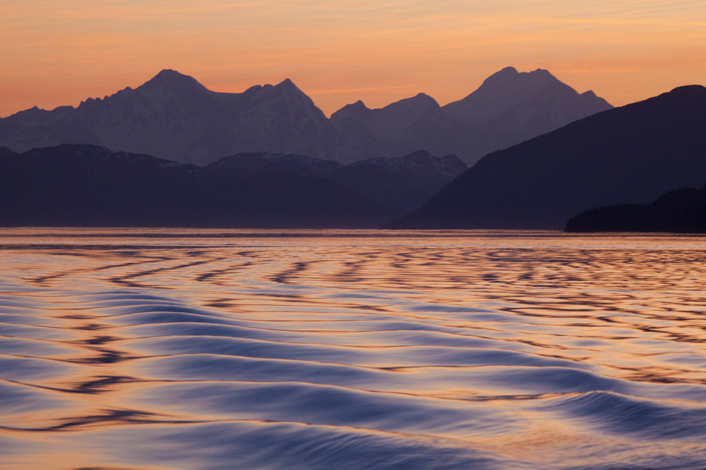 Stock Photo: 1482R-1936A Pattern of waves in the sea, Icy Strait, Fairweather Range, Alaska, USA