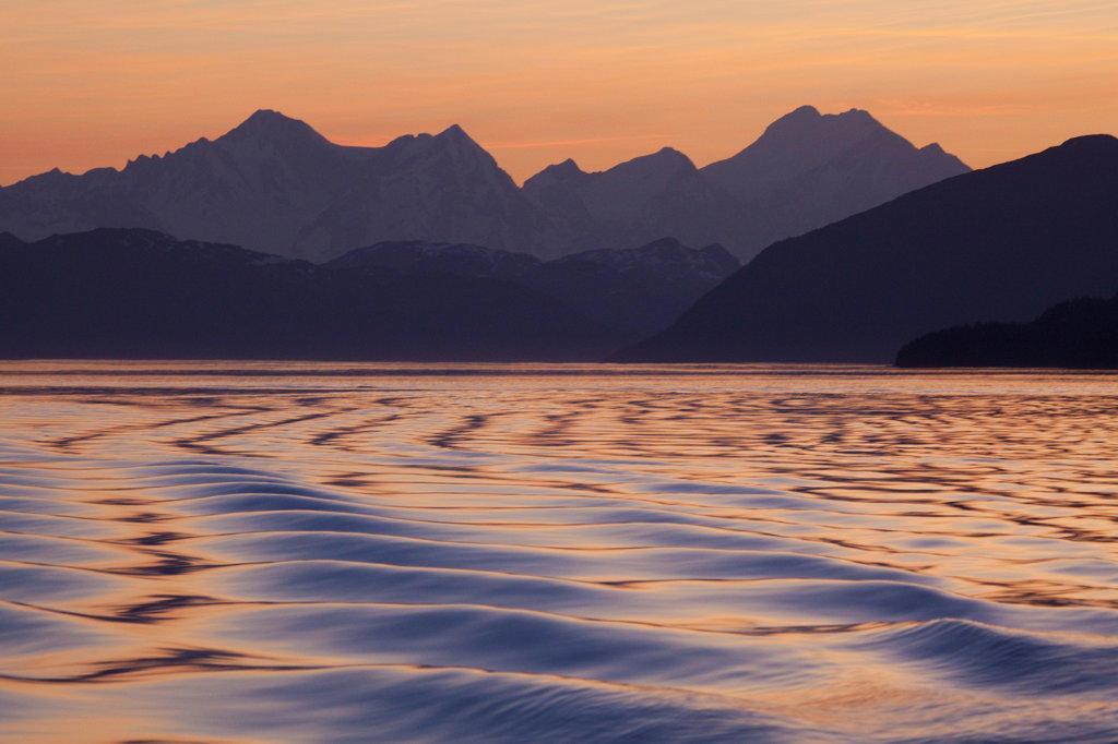 Pattern of waves in the sea, Icy Strait, Fairweather Range, Alaska, USA : Stock Photo