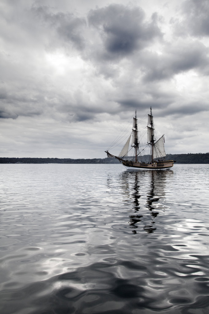 Brig in the sea, Lady Washington, Brownsville, Washington State, USA : Stock Photo