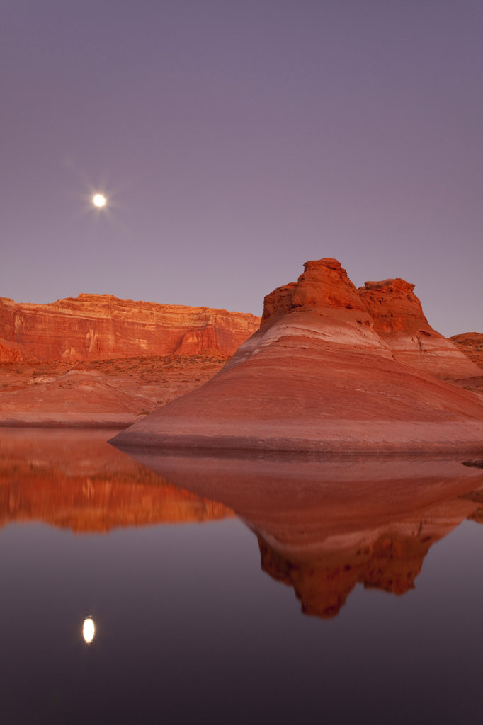 Stock Photo: 1482R-2028B Reflection of cliffs in the lake, Lake Powell, Face Canyon, Glen Canyon National Recreation Area, Utah, USA
