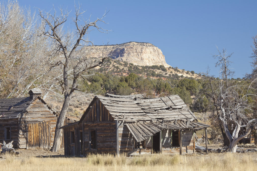Stock Photo: 1482R-2048 Abandoned houses in a ghost town, Johnson Canyon, Kanab, Utah, USA