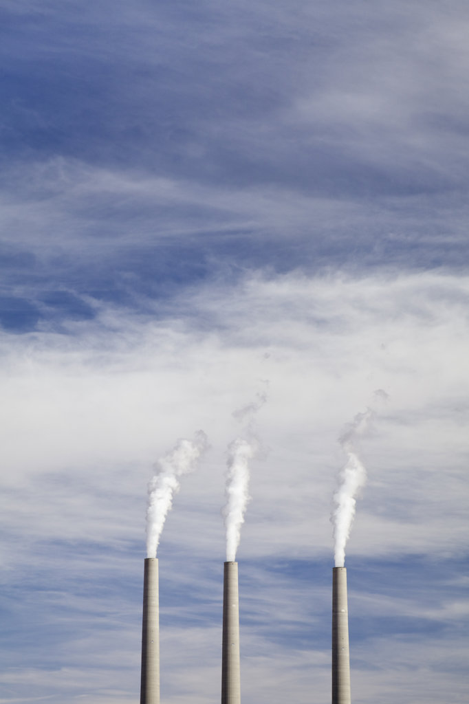 Stock Photo: 1482R-2060 Coal power plant with smoke stacks, Page, Arizona, USA