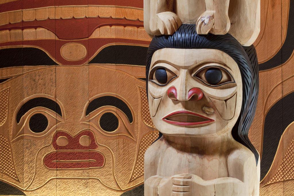Stock Photo: 1482R-2143 Close-up of totem poles, Potlatch Totem Park, Ketchikan, Alaska, USA