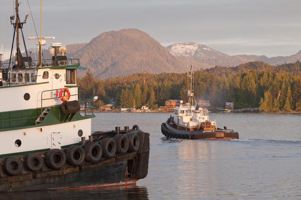 Tugboats in the ocean, Ketchikan, Alaska, USA : Stock Photo