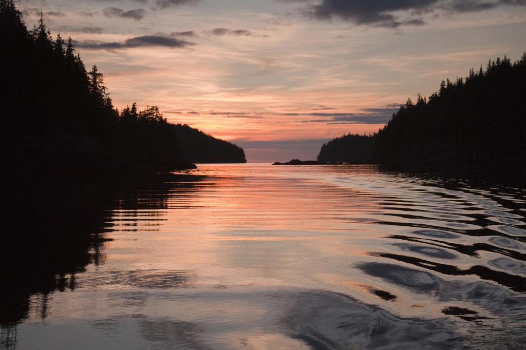Lake at sunset, Meyers Chuck, Alaska, USA : Stock Photo