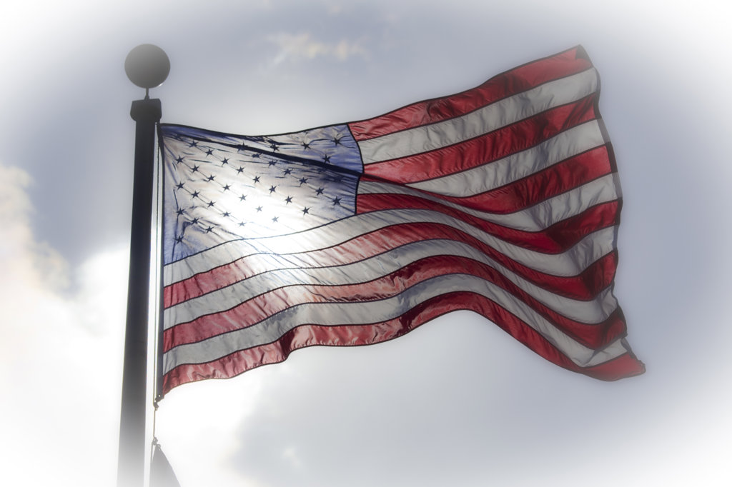 USA, Washington State, Point No Point, Hansville, American Flag : Stock Photo