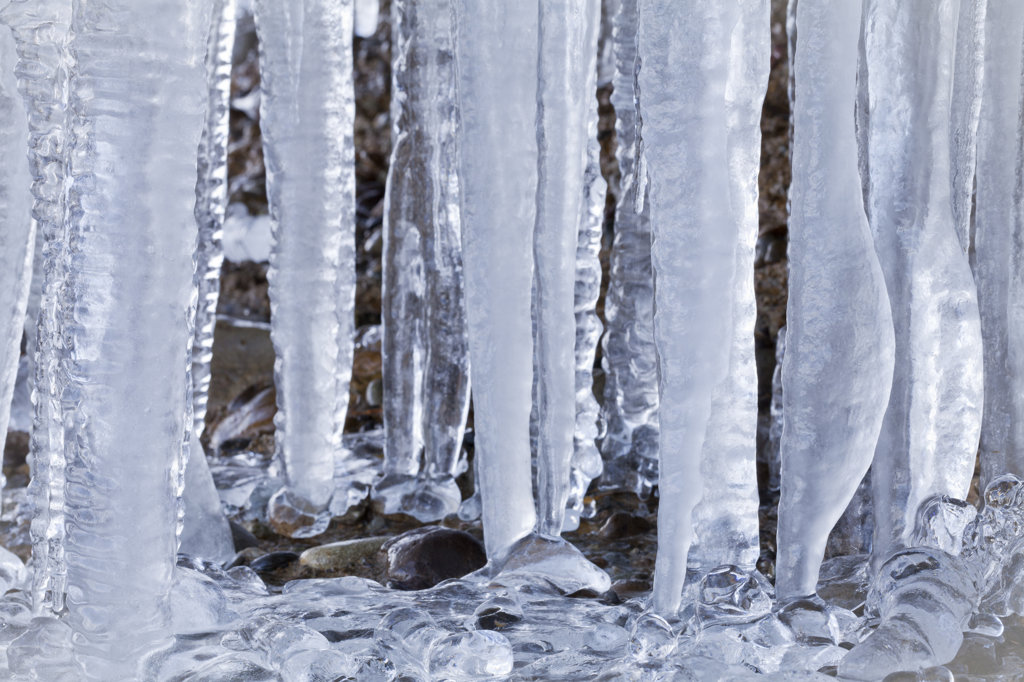 Close-up of Icicles formation : Stock Photo
