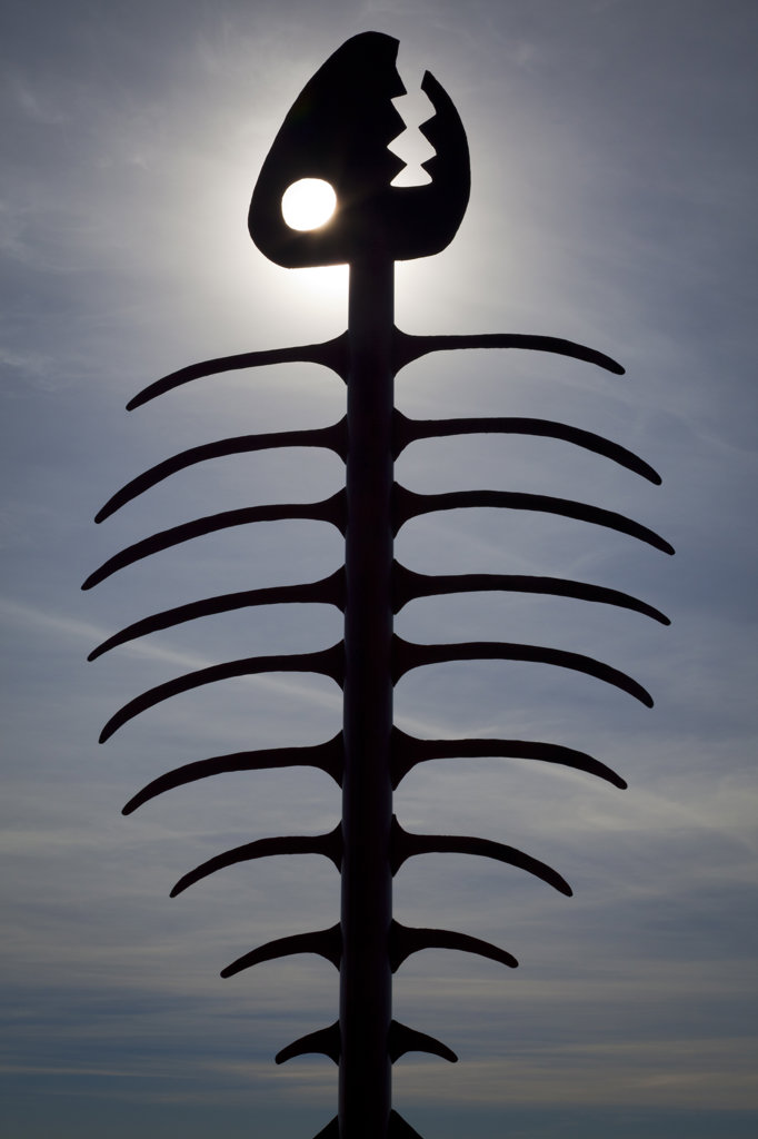 Silhouette of a fishbone sculpture, Embarcadero Marina Park, San Diego, California, USA : Stock Photo