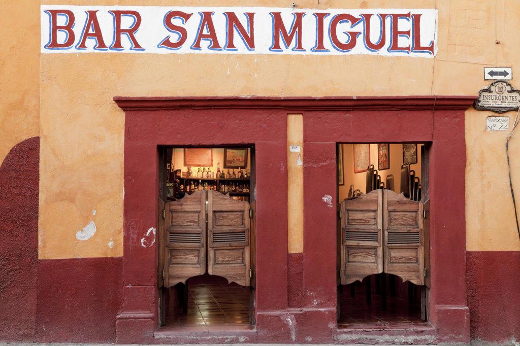 Stock Photo: 1482R-2621 Mexico, Guanajuato, San Miguel de Allende, Bar entrance