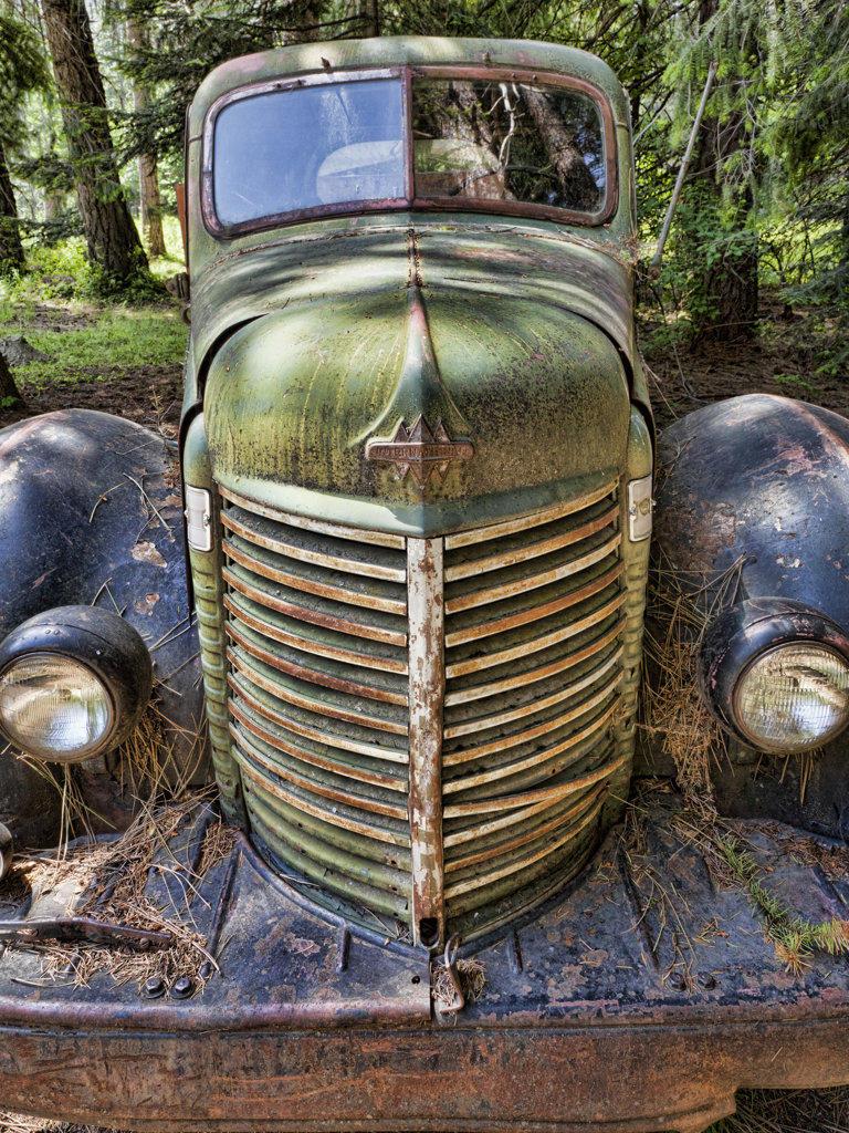 Stock Photo: 1482R-2811 USA, Washington State, Stehekin, Old Rusty Truck