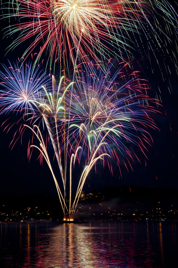 Stock Photo: 1482R-2870 USA, Washington State, Poulsbo, Fireworks Display at Night