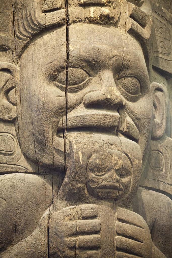 USA, Alaska, Wrangell, Totem detail : Stock Photo